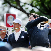 Ryder Cup 2016. Rory McIlory of Europe plays his tee shot on the sixth hole during practice day at the Hazeltine National Golf Club on September 29, 2016 in Chaska, Minnesota.  (Photo by Tim Clayton/Corbis via Getty Images)