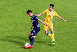 Miha Gregoric of ND Gorica and Amedej Vetrih of NK Domzale during football match between NK Domzale and ND Gorica in Round #34 of Prva liga Telekom Slovenije 2016/17, on May 17th, 2017 in Mestni stadion Ptuj, Ptuj, Slovenia. Photo by Ziga Zupan / Sportida