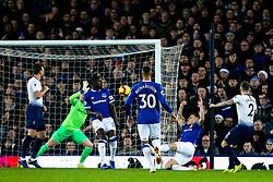 Kieran Trippier of Tottenham Hotspur shoots at goal but Jordan Pickford of Everton saves - Mandatory by-line: Robbie Stephenson/JMP - 23/12/2018 - FOOTBALL - Goodison Park - Liverpool, England - Everton v Tottenham Hotspur - Premier League