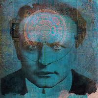 Harry Houdini with the Ājñā chakra illuminated.