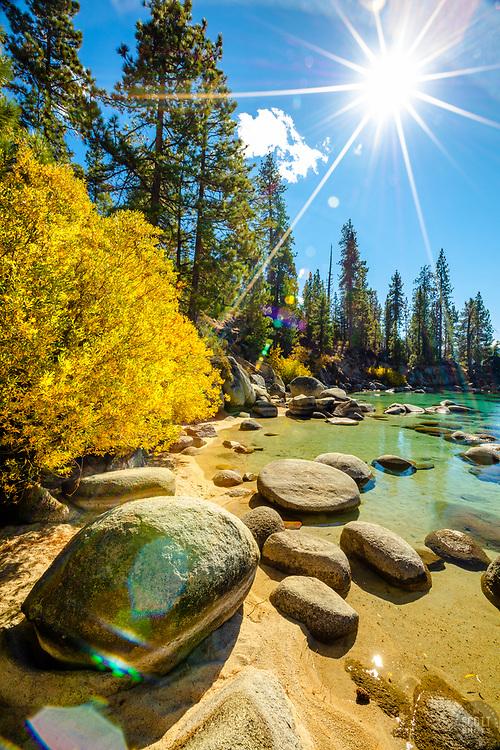 """Secret Cove in Autumn 4"" - Photograph of fall foliage along the shore at Secret Cove, Lake Tahoe."