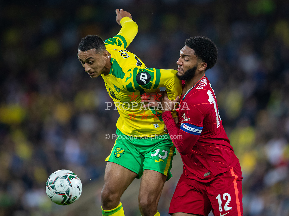 NORWICH, ENGLAND - Tuesday, September 21, 2021: Liverpool's captain Joe Gomez (R) and Norwich City's Adam Idah during the Football League Cup 3rd Round match between Norwich City FC and Liverpool FC at Carrow Road. Liverpool won 3-0. (Pic by David Rawcliffe/Propaganda)