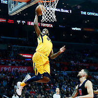 30 November 2017: Utah Jazz forward Royce O'Neale (23) goes for the dunk during the Utah Jazz 126-107 victory over the LA Clippers, at the Staples Center, Los Angeles, California, USA.