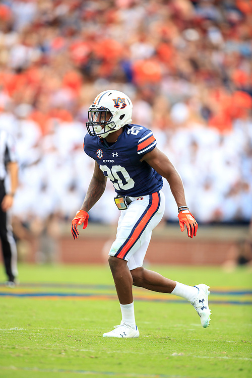 Auburn Tigers defensive back Jeremiah Dinson (20) during an NCAA football game against the Mississippi Rebels, Saturday, October 7, 2017, in Auburn, AL. Auburn won 44-23. (Paul Abell via Abell Images for Chick-fil-A Peach Bowl)
