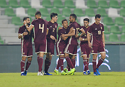 Darwin Machis (C) of Venezuela celebrates with his team mates after scoring the first goal against Iran during international friendly soccer match between Iran and Venezuela at Al Ahli Stadium Doha, Capital of Qatar, November 20, 2018. The match ended with a 1-1 draw. (Credit Image: © Nikku/Xinhua via ZUMA Wire)
