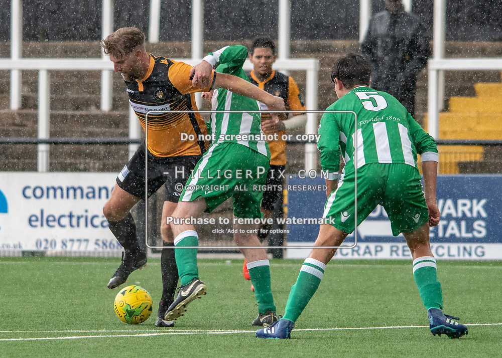 BROMLEY, UK - AUGUST 25: <br /> Michael Power (Cray Wanderers) holds off tight marking on the edge fo the Rusthall area during the FA Cup Preliminary Round match between Cray Wanderers and Rusthall at Hayes Lane on August 25, 2018 in Bromley, UK. (Photo: Jon Hilliger / Cray Wanderers)
