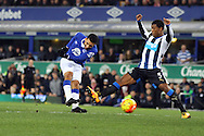 Aaron Lennon of Everton shoots and scores his teams 1st goal. Barclays Premier League match, Everton v Newcastle United at Goodison Park in Liverpool on Wednesday 3rd February 2016.<br /> pic by Chris Stading, Andrew Orchard sports photography.