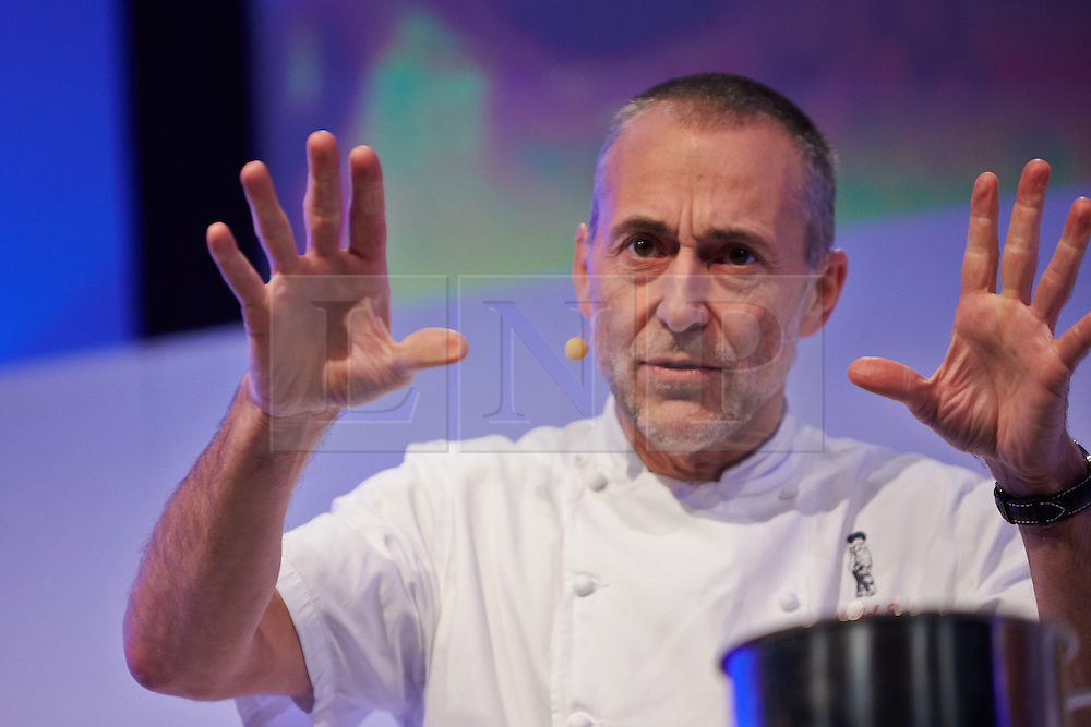 © Licensed to London News Pictures.  15/11/2013. LONDON, UK. Chef Michel Roux Jr gives a cookery demonstration at the BBC Good Food Show held in Olympia Exhibition Hall. The event opens today and runs until Sunday 17 November. Photo credit: Cliff Hide/LNP