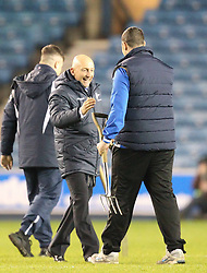 Millwall Manager, Ian Holloway even celebrates with ground staff at the end of the match - Photo mandatory by-line: Robin White/JMP - Tel: Mobile: 07966 386802 18/01/2014 - SPORT - FOOTBALL - The Den - Millwall - Millwall v Ipswich Town - Sky Bet Championship
