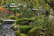 The Shiguretei Tea House beside a stream in the Kenrokuen Garden, Kanazawa, Ishigawa, Japan