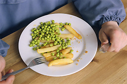 Plate of lunch being eaten by young man in day centre for homeless and vulnerably housed young people,