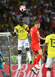 Colombia's Davinson Sanchez and England's Jamie Vardy during the 1/8 final game between Colombia and England at the 2018 FIFA World Cup in Moscow, Russia on July 3, 2018. Photo by Lionel Hahn/ABACAPRESS.COM