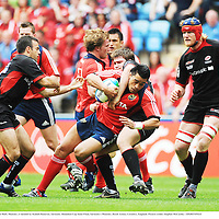 27 April 2008; Lifeimi Mafi, Munster, is tackled by Kameli Ratuvou, Saracens. Heineken Cup Semi-Final, Saracens v Munster, Ricoh Arena, Coventry, England. Picture credit: Stephen McCarthy / SPORTSFILE *** Local Caption ***