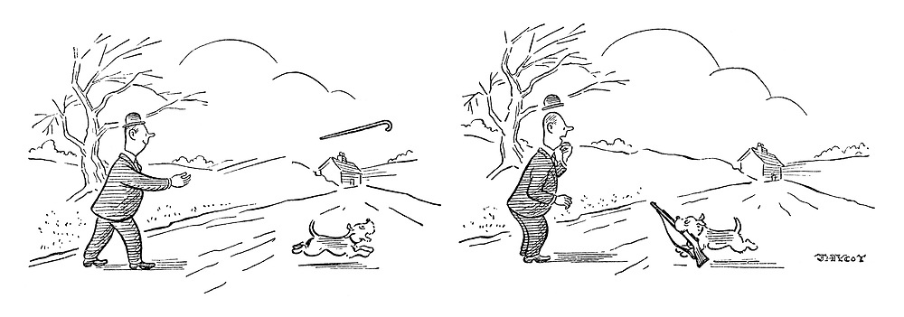 (A man throws a cane to his dog to chase and it returns with a rifle)