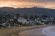 Sunrise light and clouds over Laguna Beach, Orange County, California