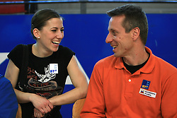 "Mojca Rode and Aljaz Pegan at event ""Slovenian Gymnastics stars"" after the European Championships in Milano, on April 6, 2009, in Hall Slovan, Kodeljevo, Ljubljana, Slovenia. (Photo by Vid Ponikvar / Sportida)"