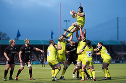 Harry Wells of Leicester Tigers wins the ball at a lineout - Mandatory byline: Patrick Khachfe/JMP - 07966 386802 - 05/02/2017 - RUGBY UNION - Allianz Park - London, England - Saracens v Leicester Tigers - Anglo-Welsh Cup.