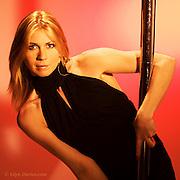 Publicity photographs of pole dancer Tracy Huckfield at the Menai Bridge Studio 2008.
