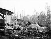 Ackroyd 00018-28. P. L. Crooks & Co. Portable saw mill. Taft, Oregon. November 14, 1946.