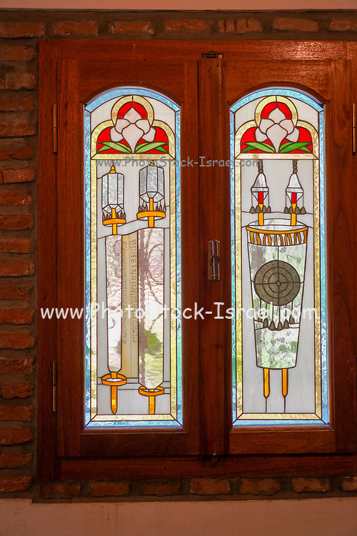 Stained glass window at the Jewish Cemetery in Messapion Street in downtown Chalkidas. The Jewish cemetery of Halkida is one of the most important and historic Jewish cemeteries of Greece as it contains graves dating from the Ottoman period (15th century).