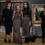 London, UK. 10th October, 2017. Designer Anna Kostinaand performers Anna Bones & and Maisy Taylor at the Figure of A - Fashion inspired by Shibari Launch Night at the Underdog Gallery.