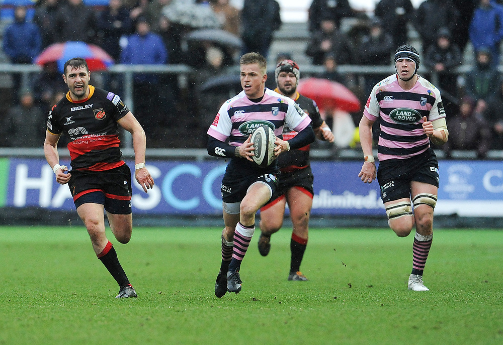 Cardiff Blues' Gareth Anscombe in action during todays match<br /> <br /> Photographer Ian Cook/CameraSport<br /> <br /> Guinness Pro14 Round 11 - Dragons v Cardiff Blues - Tuesday 26th December 2017 - Rodney Parade - Newport<br /> <br /> World Copyright © 2017 CameraSport. All rights reserved. 43 Linden Ave. Countesthorpe. Leicester. England. LE8 5PG - Tel: +44 (0) 116 277 4147 - admin@camerasport.com - www.camerasport.com