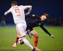 ZAGREB, Nov. 15, 2018  Ivan Rakitic of Croatia during the UEFA Nations League A group 4 match between Croatia and Spain at Maksimir stadium in Zagreb, Croatia, on November 15. Croatia won 3:2. (Credit Image: © Marko Prpic/Pixsell/Xinhua via ZUMA Wire)