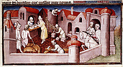 Marco Polo (1254-1324) Venetian traveller and merchant. Scene from his 'Book of Marvels ...' early 15th century manuscript illustrated by Masters Boucicaut and Bedford, showing merchants entering walled town, mason and carpenter at work, shopkeeper serving customer and men driving swine. Bibliotheque Nationale, Paris.