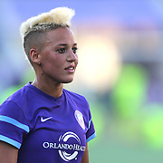 Orlando Pride forward Lianne Sanderson (10) is seen on the pitch after winning a NWSL soccer match against the Seattle Reign FC at Camping World Stadium on May 8, 2016 in Orlando, Florida. (Alex Menendez via AP)