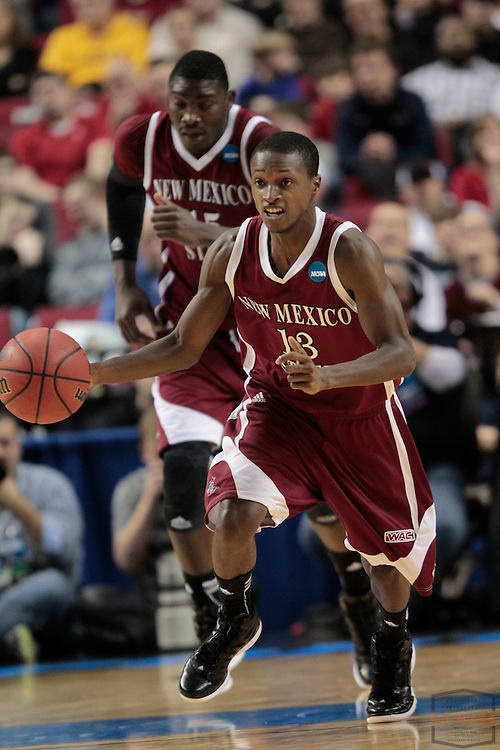 15 March 2012: New Mexico State Aggies guard Hernst Laroche (13) as the New Mexico State Aggies played the Indiana Hoosiers in the Second Round of the NCAA Division I Men's Basketball Championship at the Rose Garden in Portland, OR.