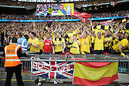 Arsenal fans during the The FA Cup match between Arsenal and Aston Villa at Wembley Stadium, London, England on 30 May 2015. Photo by Phil Duncan.