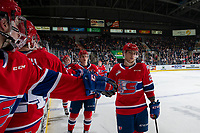 KELOWNA, BC - JANUARY 31: Leif Mattson #28 of the Spokane Chiefs celebrates a goal against the Kelowna Rockets at Prospera Place on January 31, 2020 in Kelowna, Canada. (Photo by Marissa Baecker/Shoot the Breeze)