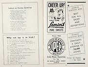 All Ireland Senior Hurling Championship Final,.Brochures,.03.09.1950, 09.03.1950, 3rd September 1950, .Tipperary 1-9, Kilkenny 1-8, .Minor Tipperary v Kilkenny,.Senior Tipperary v Kilkenny, .Croke Park, ..Poems, Labair An Teanga Gaedilge, ..Articles, Why not say it in Irish?, ..Advertisements, Lemon's Pure Sweets, Dublin Evening Mail, Blockmakers of Quality Irish Photo Engraving Co Ltd,