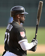 GLENDALE, ARIZONA - MARCH 04:  Micker Adolfo #77 of the Chicago White Sox bats against the Los Angeles Angels on March 4, 2019 at Camelback Ranch in Glendale Arizona.  (Photo by Ron Vesely)  Subject:  Micker Adolfo