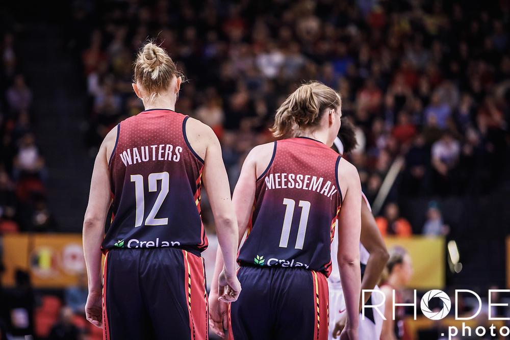 Ann Wauters (BEL) and Emma Meesseman (BEL)<br /> <br /> <br /> Day 1 – CANADA (CAN) vs BELGIUM (BEL): 61-56<br /> <br /> FIBA Women's Olympic Qualifying Tournament 2020 – Ostend,  Belgium<br /> Ostend Versluys Dôme (BEL)<br /> <br /> ©RhodePhotoMedia
