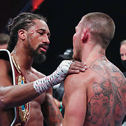 HOLLYWOOD, FL - APRIL 17:  Demetrius Andrade speaks with Liam Williams after the WBO Middleweight Championship fight at Seminole Hard Rock Hotel & Casino on April 17, 2021 in Hollywood, Florida. (Photo by Alex Menendez/Getty Images) *** Local Caption *** Demetrius Andrade; Liam Williams