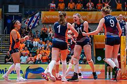 Romy Brokking of Netherlands, Kim Klein Lankhorst of Netherlands, Elles Dambrink of Netherlands celebrate during Netherlands - Argentina, FIVB U20 Women's World Championship on July 10, 2021 in Rotterdam
