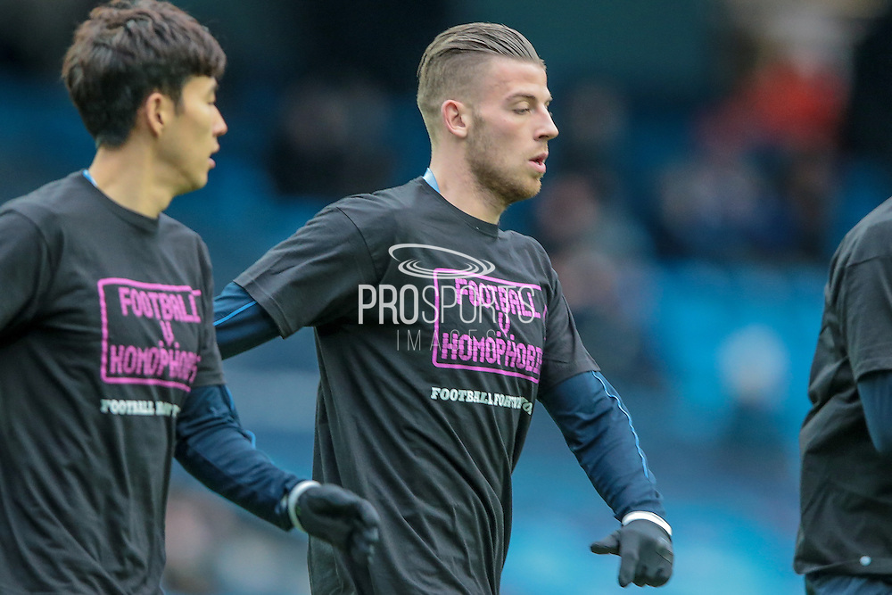 Toby Alderweireld (Tottenham Hotspur) before the Barclays Premier League match between Manchester City and Tottenham Hotspur at the Etihad Stadium, Manchester, England on 14 February 2016. Photo by Mark P Doherty.