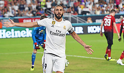 July 31, 2018 - Miami Gardens, FL, USA - Karim Mostafa Benzema of Real Madrid celebrates a goal past David de Gea of Manchester United in the first half during International Champions Cup action at Hard Rock Stadium in Miami Gardens, Fla., on Tuesday, July 31, 2018. Manchester United won, 2-1. (Credit Image: © Jim Rassol/TNS via ZUMA Wire)