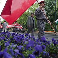 Supporters of the Hungarian Communist Party gathered to march together celebrating Labour Day in Budapest, Hungary on May 01, 2011. ATTILA VOLGYI