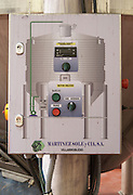sign on tank control panel for stirrers and pumps bodegas frutos villar , cigales spain castile and leon