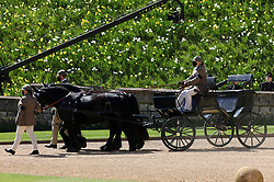 Fell ponies, Balmoral Nevis and Notlaw Storm pullling the Duke of Edinburgh's driving carriage ahead of the funeral of the Duke of Edinburgh at Windsor Castle, Berkshire. Picture date: Saturday April 17, 2021.