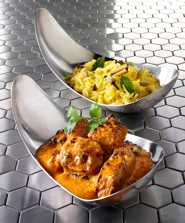Chicken Tikka Masala with Pilau rice & naan bread Indian food stock pictures, photos fotos & images