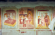 Religious murals depicting the Life of St Antonio Abate by Dionisio Baschenis ( circa 1493) on the exterior of the Gothic Church of San Antonio Abate,  Pelugo, Province of Trento, Italy .<br /> <br /> Visit our ITALY PHOTO COLLECTION for more   photos of Italy to download or buy as prints https://funkystock.photoshelter.com/gallery-collection/2b-Pictures-Images-of-Italy-Photos-of-Italian-Historic-Landmark-Sites/C0000qxA2zGFjd_k<br /> If you prefer to buy from our ALAMY PHOTO LIBRARY  Collection visit : https://www.alamy.com/portfolio/paul-williams-funkystock/san-antonio-abate-pelugo.html .<br /> <br /> Visit our ITALY PHOTO COLLECTION for more   photos of Italy to download or buy as prints https://funkystock.photoshelter.com/gallery-collection/2b-Pictures-Images-of-Italy-Photos-of-Italian-Historic-Landmark-Sites/C0000qxA2zGFjd_k<br /> If you prefer to buy from our ALAMY PHOTO LIBRARY  Collection visit : https://www.alamy.com/portfolio/paul-williams-funkystock/san-antonio-abate-pelugo.html