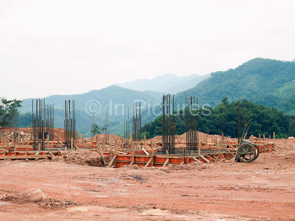Construction of the Nam Ou Cascade Hydropower Project Dam 7 in Ban Chalern village, Phongsaly province, Laos