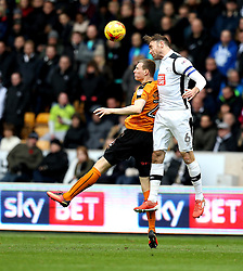 Richard Keogh of Derby County beats Jon Dadi Bodvarsson of Wolverhampton Wanderers to a header - Mandatory by-line: Robbie Stephenson/JMP - 05/11/2016 - FOOTBALL - Molineux - Wolverhampton, England - Wolverhampton Wanderers v Derby County - Sky Bet Championship