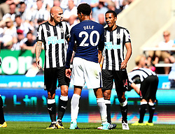 Jonjo Shelvey of Newcastle United and Isaac Hayden of Newcastle United square up to Dele Alli of Tottenham Hotspur - Mandatory by-line: Robbie Stephenson/JMP - 13/08/2017 - FOOTBALL - St James Park - Newcastle upon Tyne, England - Newcastle United v Tottenham Hotspur - Premier League