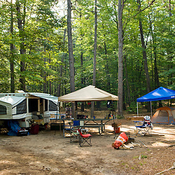 A pop-up camper at White Lake State Park in Tamworth, New Hampshire.