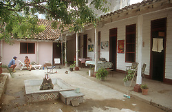 Courtyard of a small guesthouse or bed and breakfast in Gibara; Holguin province; Cuba,