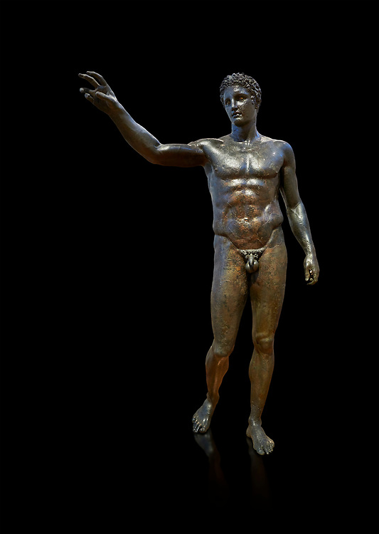 Gronze Greek classical statue of a youth by sculptor Euphranor. from the Antikythera shipwreck, Circa 340-330 BC, Athens National Archaeological Museum. Cat No X13396. Against black<br /> <br /> The statue has been thought to depict Perseus who would have been holding the head of Medusa, but is more probably a depiction of Paris who would have been holding the 'apple of strife', ready to award it to the most beautiful goddess, Aphrodite. Probably sculpted by Sikyonian sculptor Euphranor. .<br /> <br /> If you prefer to buy from our ALAMY STOCK LIBRARY page at https://www.alamy.com/portfolio/paul-williams-funkystock/greco-roman-sculptures.html . Type -    Athens    - into LOWER SEARCH WITHIN GALLERY box - Refine search by adding a subject, place, background colour, etc.<br /> <br /> Visit our ROMAN WORLD PHOTO COLLECTIONS for more photos to download or buy as wall art prints https://funkystock.photoshelter.com/gallery-collection/The-Romans-Art-Artefacts-Antiquities-Historic-Sites-Pictures-Images/C0000r2uLJJo9_s0